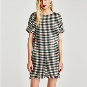 CHECKED TWEED DRESS WITH ZIP